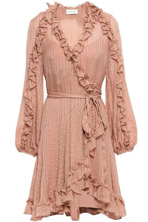 ZIMMERMANN Cascade silk-jacquard mini wrap dress