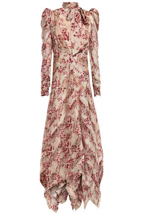 efd8add552 ZIMMERMANN Ruched draped printed silk-blend georgette and twill midi dress
