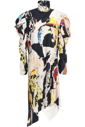 MARQUES' ALMEIDA Draped gathered cotton-poplin dress