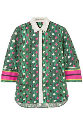 MARY KATRANTZOU Printed silk-twill shirt
