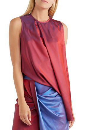 SIES MARJAN Asymmetric draped iridescent-effet satin-twill blouse