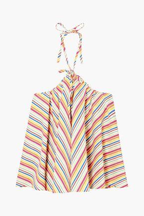 ROSIE ASSOULIN Striped cotton-blend seersucker halterneck top