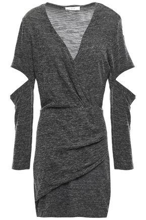 IRO Cutout wrap-effect mélange jersey mini dress