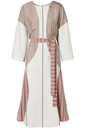 ESTEBAN CORTAZAR Barre paneled striped satin-twill and poplin dress