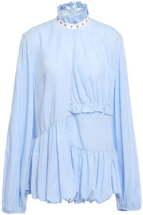 MARQUES' ALMEIDA Eyelet-embellished ruffled Tencel blouse