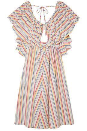 ROSIE ASSOULIN Open-back ruffled striped cotton-blend seersucker dress