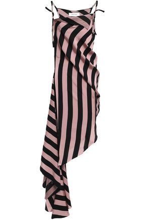 MARQUES' ALMEIDA Asymmetric striped twill dress