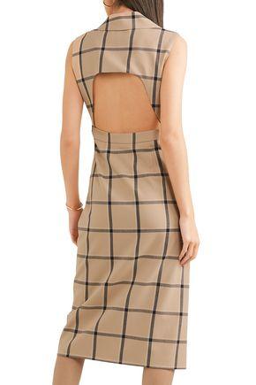 MONSE Louise asymmetric cutout checked twill dress