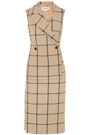 MONSE Louise asymmetric cutout checked twill dress