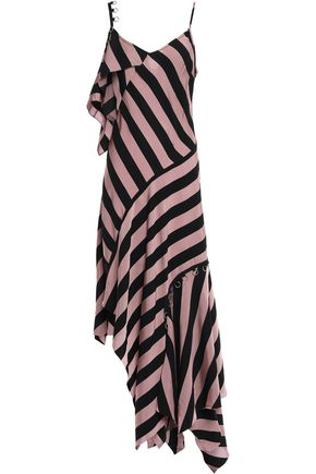 MARQUES' ALMEIDA Asymmetric embellished striped twill dress