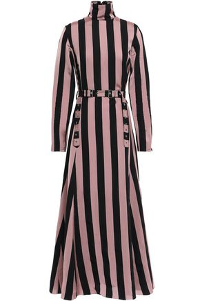 MARQUES' ALMEIDA Belted striped twill midi dress
