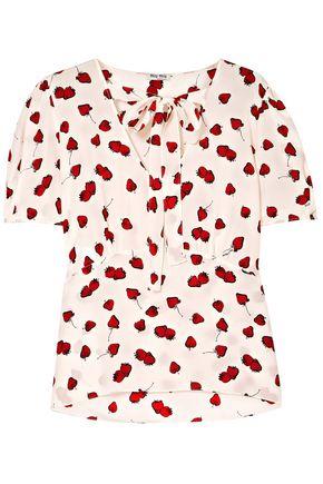 MIU MIU Pussy-bow printed silk crepe de chine blouse
