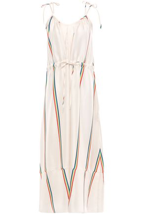 PAPER London Striped silk-twill midi dress