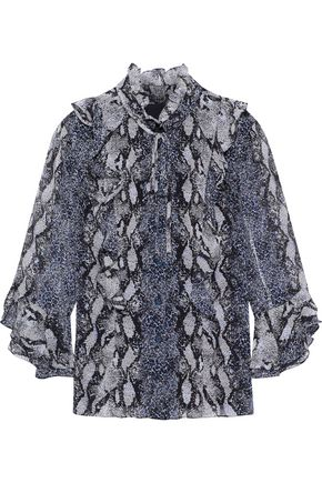 MIKAEL AGHAL Ruffle-trimmed snake-print chiffon blouse