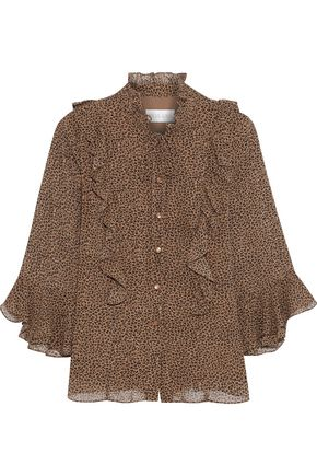 MIKAEL AGHAL Ruffle-trimmed leopard-print georgette blouse