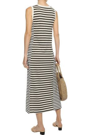 CURRENT/ELLIOTT The Perfect Muscle striped Pima cotton-jersey midi dress