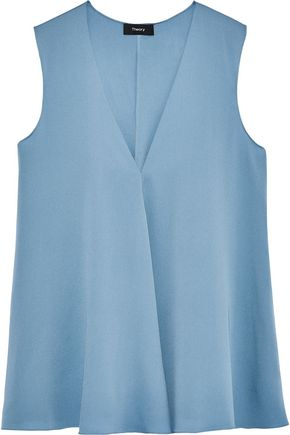 THEORY Draped stretch-silk blouse