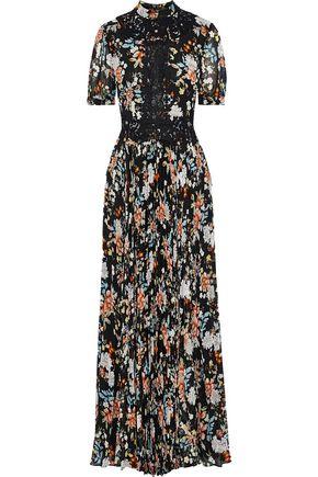 MIKAEL AGHAL Appliquéd metallic floral-print plissé-chiffon maxi dress