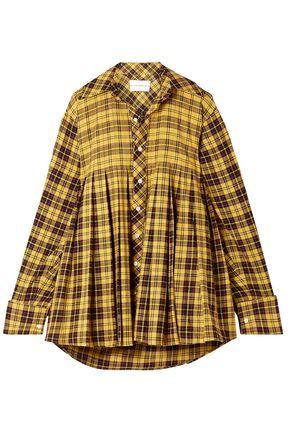 MATTHEW ADAMS DOLAN Oversized pleated checked cotton shirt