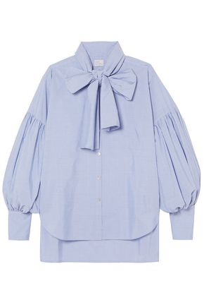 HILLIER BARTLEY New Romantic pussy-bow pinstriped cotton-poplin shirt