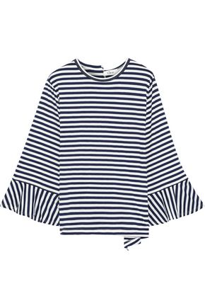 CLU Fluted striped stretch-jersey top