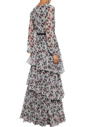 MIKAEL AGHAL Tiered satin-trimmed floral-print chiffon maxi dress