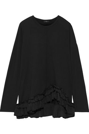 CLU Ruffled silk-trimmed cotton-jersey top