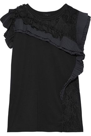 CLU Lace-paneled pleated ruffled cotton-jersey top