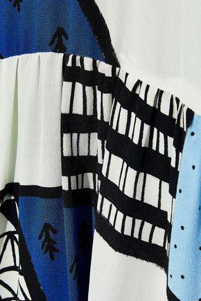 NOVIS The Barrington belted printed washed-silk maxi shirt dress