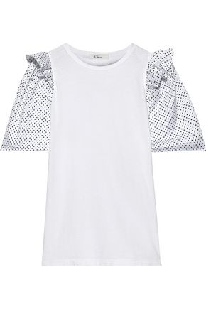 CLU Polka-dot satin-paneled cotton-jersey T-shirt