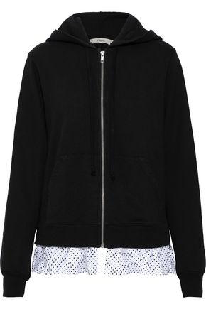CLU Polka-dot poplin-trimmed French cotton-terry hoodie