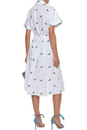NOVIS The Hoxsey embroidered cotton-blend poplin shirt dress