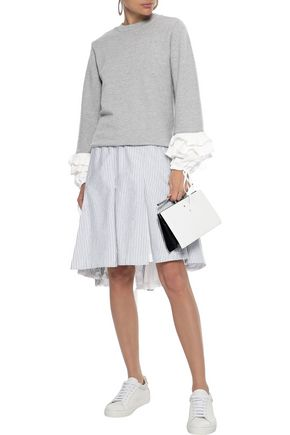 CLU Ruffled twill-trimmed French cotton-blend terry sweatshirt