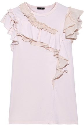 CLU Ruffled organza-trimmed cotton and silk-blend jersey top
