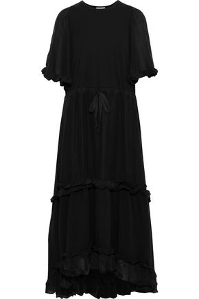 CLU Ruffle-trimmed silk and cotton-blend maxi dress