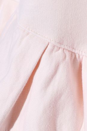 CLU Crepe de chine-trimmed tiered French cotton-terry sweatshirt