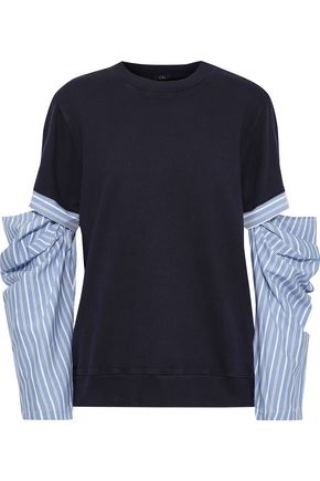 CLU Cutout striped poplin-paneled French cotton-terry sweatshirt