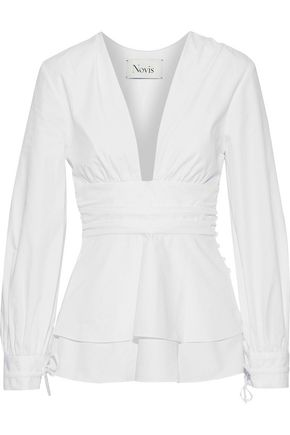 NOVIS Ruched layered cotton-poplin blouse