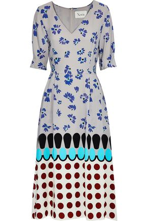 NOVIS Greenwood pleated printed silk-crepe dress