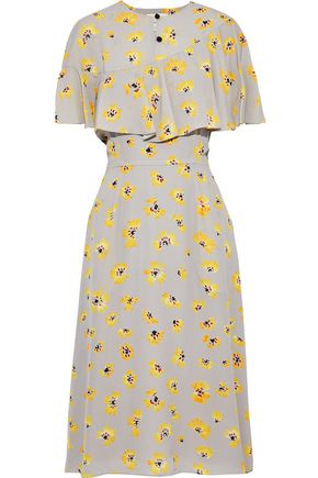 NOVIS The Golden layered floral-print silk crepe de chine midi dress