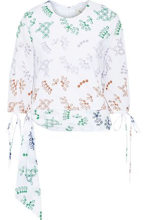 NOVIS The Falmouth knotted broderie anglaise cotton-blend blouse