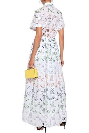 NOVIS The Huntington broderie anglaise cotton-blend maxi shirt dress
