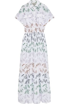 NOVIS The Huntington broderie anglaise cotton-blend maxi shirt dress