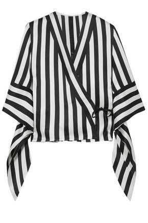 PETAR PETROV Striped silk wrap blouse