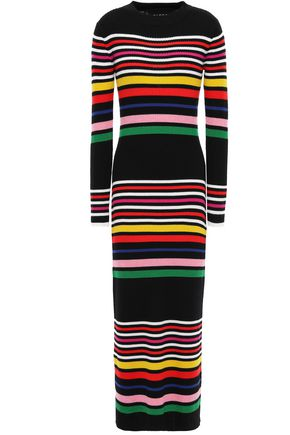 PAPER London Rave striped ribbed wool midi dress