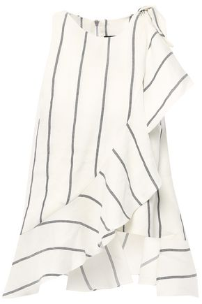 PAPER London Ruffled striped linen-blend top