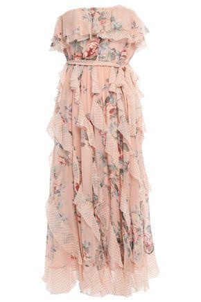 ZIMMERMANN Strapless printed silk-georgette midi dress