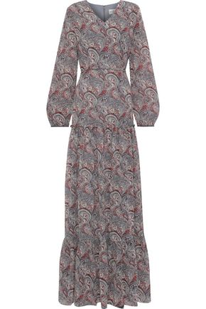 MIKAEL AGHAL Velvet-trimmed printed chiffon maxi dress