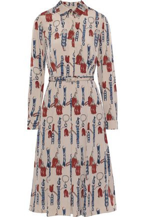 MIKAEL AGHAL Belted pleated printed voile shirt dress