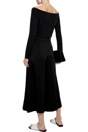 THEORY Off-the-shoulder neoprene top